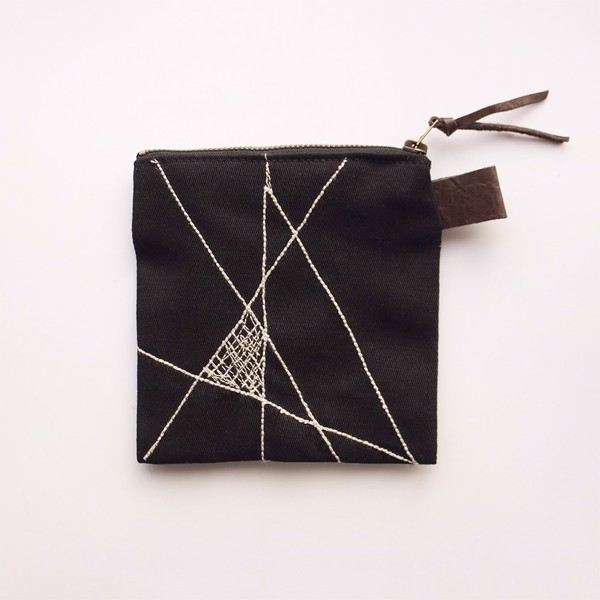 Picture of Black Geometric Zipper Pouch