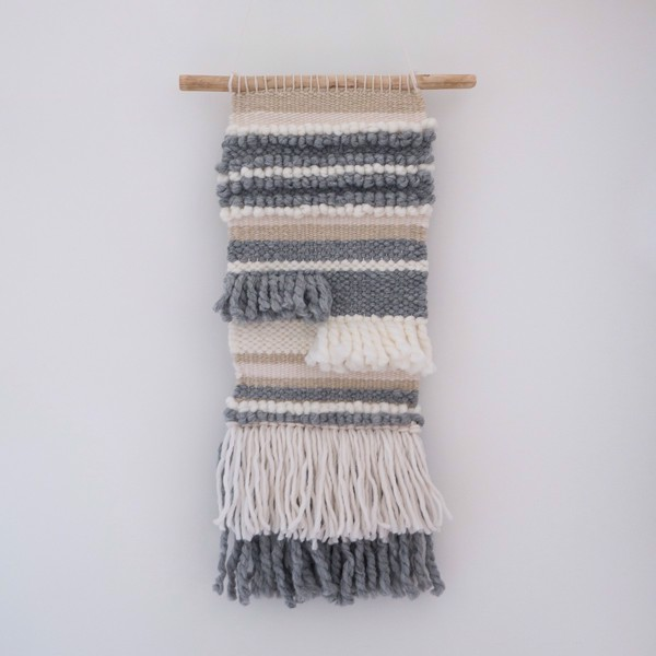 Picture of Weaving Wall Hanging - cotton, wool and wood grey tapestry